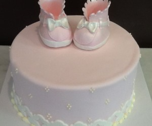 Baby Bootie with Ruffle Shower Cake