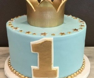 Blue and Gold Number 1 Crown Cake