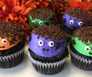 Our New Scary Monster Cupcakes available with chocolate or vanilla bases.