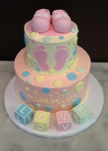 Baby Block & Buttons Baby Shower Cake