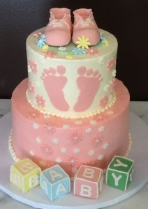 Baby Blocks and Booties Shower Cake