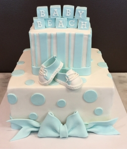 Baby Bootie & Blocks Shower Cake