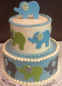 Baby Elephant Shower Cake