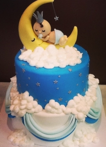 Baby in Moon Shower Cake