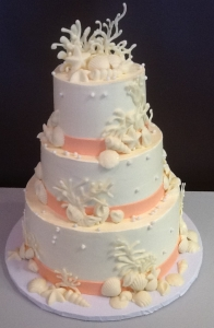 Beach Theme Shell Wedding Cake