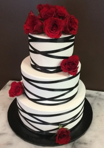 Black Ribbon & Red Roses Cake