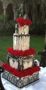 Black & White Masquerade Wedding Cake