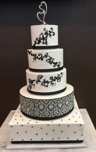 Black & White Scroll Wedding Cake