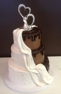 Black and White Half and Half Wedding Cake