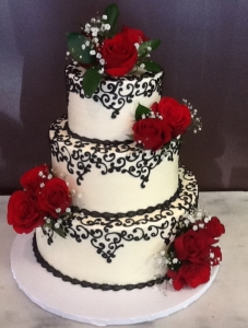 Black and White Scroll Wedding Cake