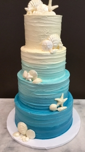 Blue Ombre Sea Shell Wedding Cake