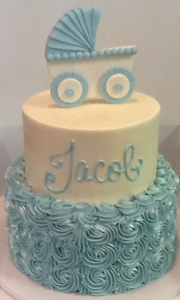 Blue Rosette Baby Carriage Cake