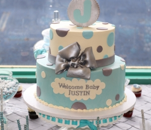 Blue and Silver Baby Shower Cake