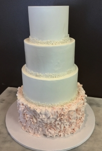 Blush Floral and Pearl Detail Wedding Cake