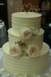 Blush Rose & Gold Bead Wedding Cake