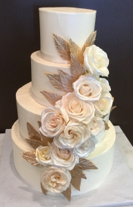 Blush Roses & Gold Leaf Wedding Cake
