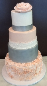 Blush & Silver Gray Wedding Cake