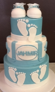 Bootie and Baby Footprint Baby Shower Cake