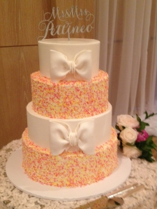 Bow and Sprinkle Wedding Cake