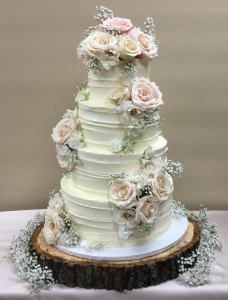 Champagne Rose  Trim Textured Cake