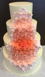 Coral Floral Cascade Wedding Cake