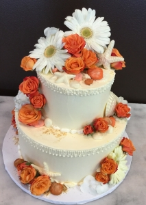 Coral Floral and Shells Cake