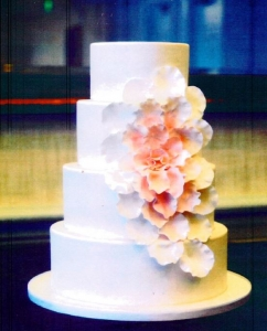 Coral and Ivory Cascading Flower Wedding Cake
