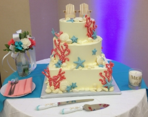Coral and Turquoise Beach Wedding Cake