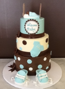 Cradle and Booties Baby Shower Cake