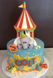 Elephant Circus Tent Birthday Cake