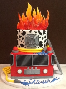 Fire Truck Cake with Flames