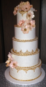 Five Tier Gold Pink Floral and Gold Scrolling Wedding Cake