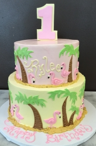 Flamingo Theme Birthday Cake