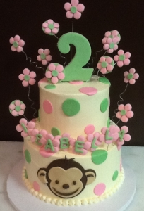 Floral Monkey Birthday Cake
