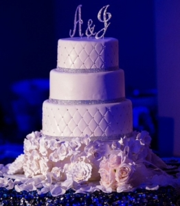 Floral Rhinestone Wedding Cake