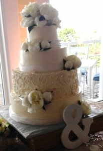 Floral & Scroll Wedding Cake