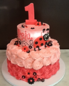 Lady Bug Pink Birthday Cake