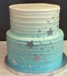 Ombre Blue and Silver Stars Cake