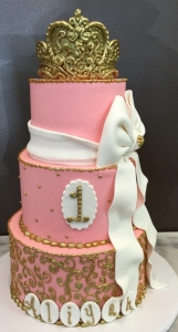 Pink & Gold Scroll and Crown Cake