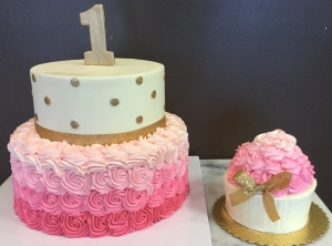 Pink and Gold Cake and Smash Cupcake Cake