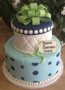 Quilted & Polka Dot Gift Box Tiered Cake