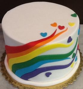 Rainbow and Hearts Fondant Cake
