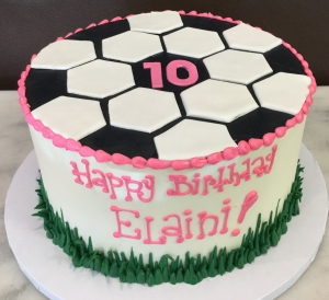 Soccer Ball Cake with Pink Trim