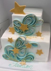 Stars & Scrolls Birthday Cake